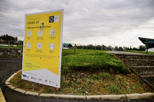 Pandemic distancing sign at football pitch in Charlestown in the west of Ireland (Simon Roughneen)