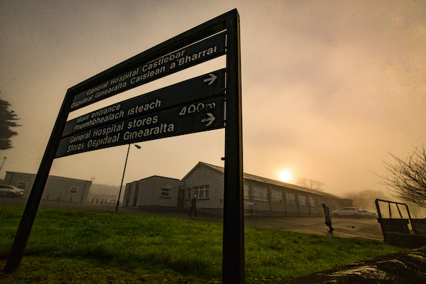 Near the entrance of a hospital in the west of Ireland (Simon Roughneen)