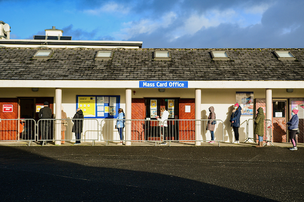 Lining up at a shop in Knock, one of Ireland's main Catholic shrines, in early December 2020 (Simon Roughneen)