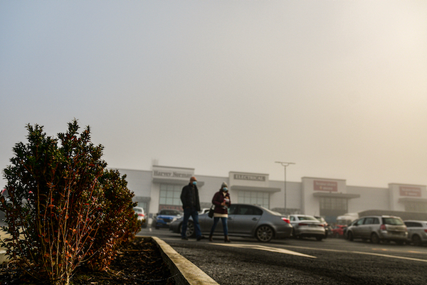 A car park in a shopping area in the town of Castlebar in the west of Ireland, shortly after the early  December end of the country's second lockdown (Simon Roughneen)