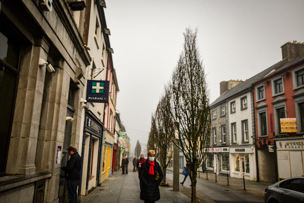Street in Castlebar in Ireland, the week after the end of the country's second lockdown (Simon Roughneen)