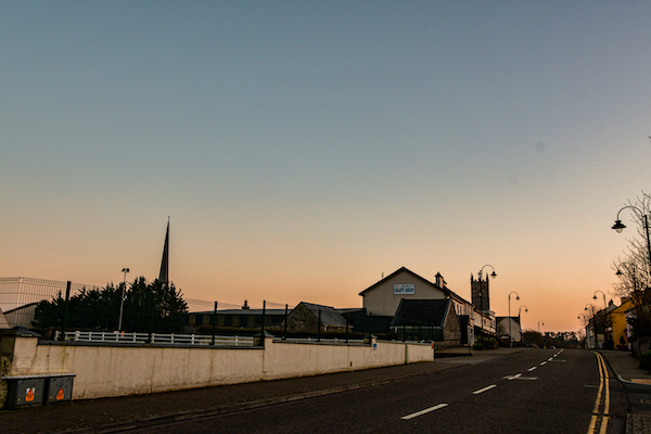 The usually busy main street in Knock, a popular Catholic pilgrimage town in Ireland. As seen at evening time during Ireland's third coronavirus lockdown.