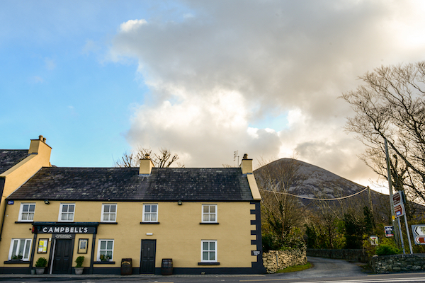 Restrictions have seen pubs such as this at the foot of Ireland's best-known pilgrimage mountain Croagh Patrick closed for most of the time since March 2020 (Simon Roughneen)