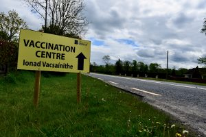 Sign for a coronavirus vaccination centre in the west of Ireland (Simon Roughneen)