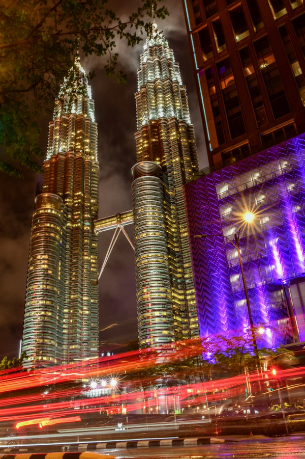 The Petronas Towers in Kuala Lumpur, for  a time the world's tallest building