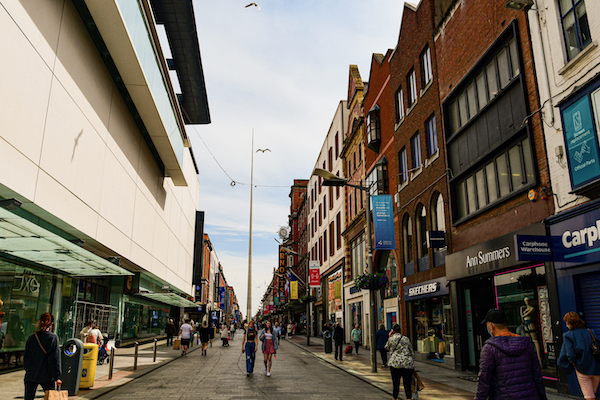 The centre of Dublin, the capital of Ireland, which received the world's 7th-most foreign investment in 2020 (Simon Roughneen)
