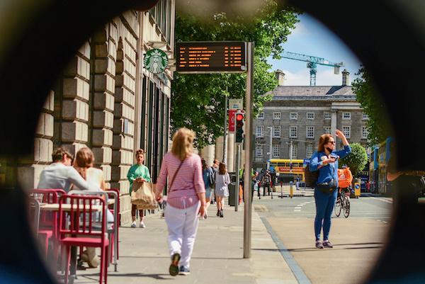 Bus stop outside a Dublin café in July (Simon Roughneen)