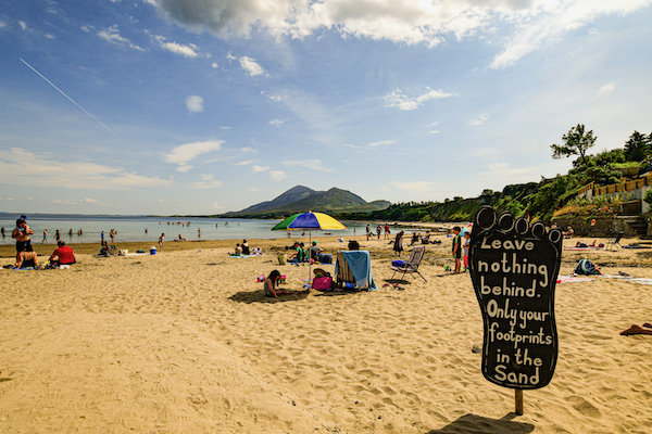 Beach in Ireland, July 2021. Visitors to beaches in 2021 are mosty travellers from within the same country (Simon Roughneen